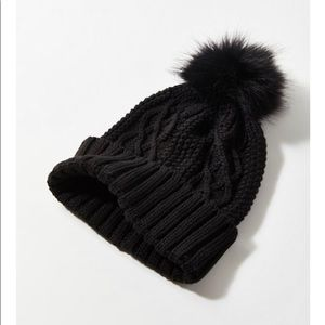 Urban Outfitters Cable Knit Pompom Beanie Black